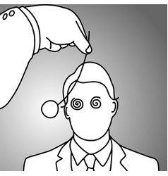 businessman being hypnotized with coin vector image