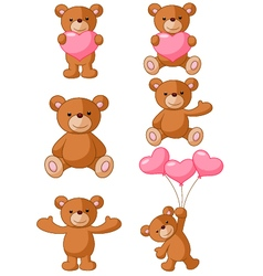 Cartoon Bear with pink love vector image