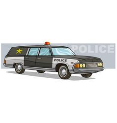 Cartoon black police retro car with golden badge vector