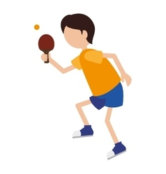 cartoon boy player ping pong vector image