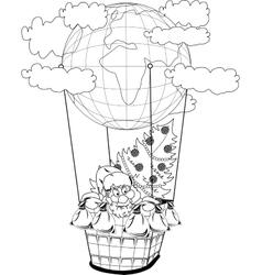 Christmas hot air balloon with Santa Claus vector image