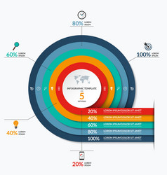 Circle infographic template with 5 options vector
