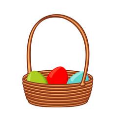 Colorful cartoon wicker basket eggs vector