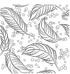 Coloring-antistress-feathers vector