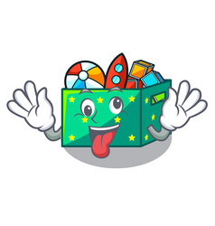 Crazy children toy boxes isolated on mascot vector