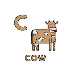 cute cartoon animals alphabet cow vector image