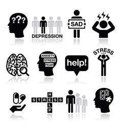 Depression stress icons set - mental health vector image