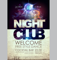 Disco ball background disco night club poster vector