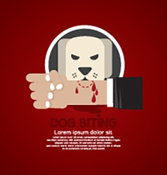 Dog Biting On Hand vector