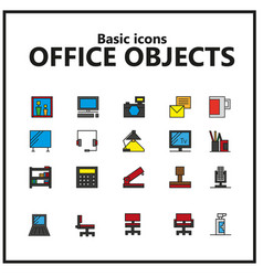 Editable pack colored icons office objects vector