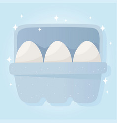 Eggs on box breakfast grocery purchases vector