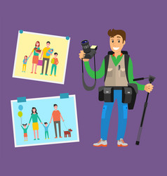Example cameraman content family pictures parents vector