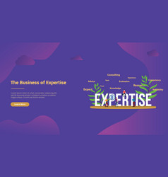 Expertise concept with people team and big text vector