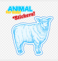 Farm animal sheep in sketch style on colorful vector