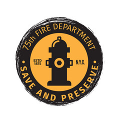 fire department grunge label vector image