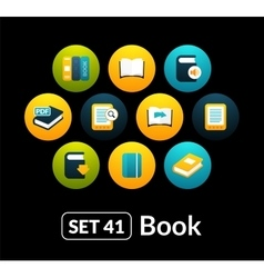 Flat icons set 41 - book collection vector image