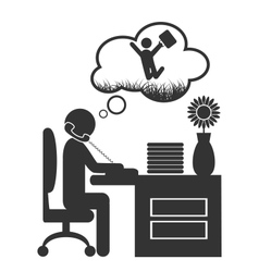 Flat office spring dream icon isolated on white vector