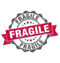 Fragile red grunge round vintage rubber stamp Vector Image