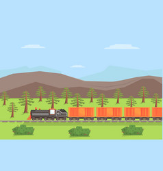 Freight train moving on nature landscape rail vector
