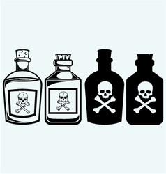 Glass bottles of poison vector image