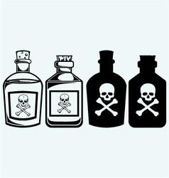 Glass bottles of poison vector