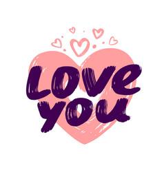 hand written love you phrase symbol vector image
