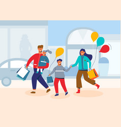 happy family on shopping people characters vector image