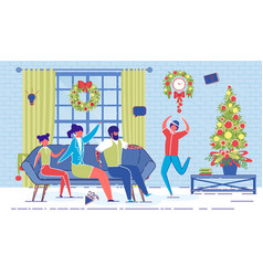 happy family play charades game on christmas eve vector image