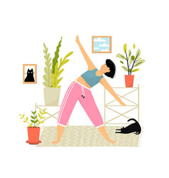 Happy smiling woman doing yoga or fitness vector