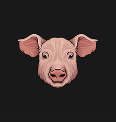 Head of pig face of of farm animal hand drawn vector