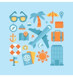 icons in flat style - travel and vacation vector image