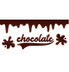 inscription chocolate written with melted liquid vector image