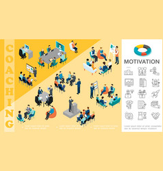 Isometric business education concept vector