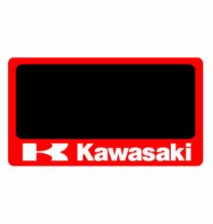 Kawasaki motorcycle number plate vector