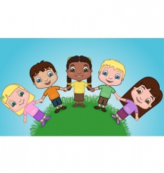 Kids holding hands on hill vector