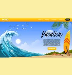 landing page design beach vacation vector image