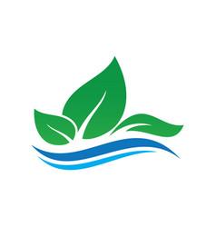 leaf ecology wave concept logo image vector image