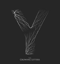 Letter y of branch or cracked alphabet y vector