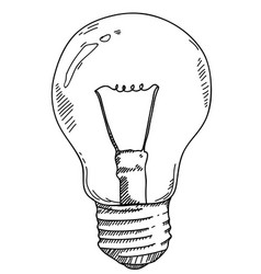 Light bulb hand drawing vector