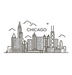 Linear banner of chicago city line art vector