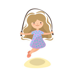 little girl jumping with jump rope summer kids vector image