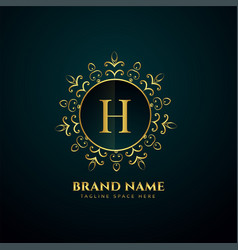 luxury letter h oranmental golden logo concept vector image