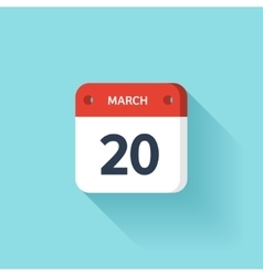 March 20 Isometric Calendar Icon With Shadow vector image