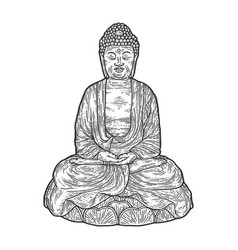 Meditating buddha engraving vector