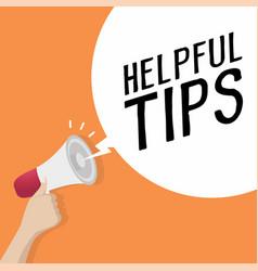 megaphone with speech bubble helpful tips vector image