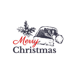 merry christmas hand drawn card design vector image