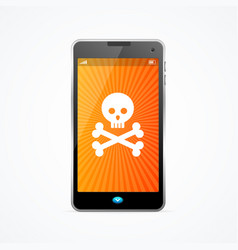Mobile phone hack crash attack software concept vector