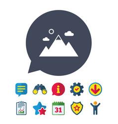 Mountain icon mountaineering sport sign vector