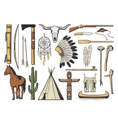 native american and indian tribe isolated icons vector image