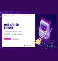 One-armed bandit isometric landing page banner vector